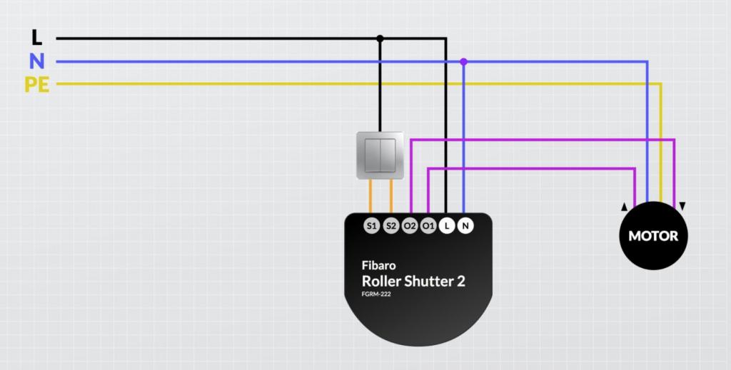 Anleitung: Schaltplan der Fibaro Rollershutter. Durch den Einbau können die Rolladen per Homekit gesteuert werden.