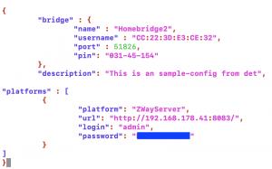Beispiel der Config.json um den Zway Server in das Homebridge Plugin zu integrieren.